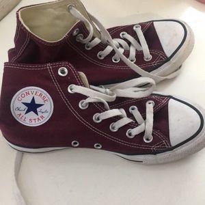Converse all star maroon high tops